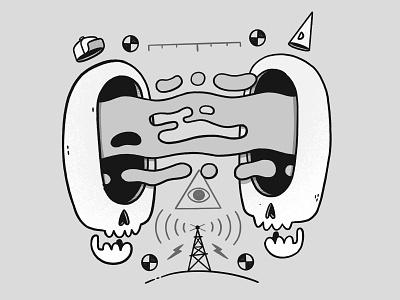 Skulls, Occult and Test Patterns weird black and white hat surreal abstract gloop slime occult radar creepy test pattern logo skull hipster retro character design blake stevenson jetpacks and rollerskates illustration