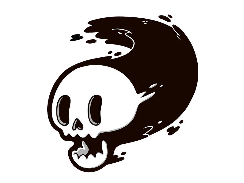 Floating Skull inktober speed 80s apparel blackandwhite motion skull retro cute cartoon character design blake stevenson jetpacks and rollerskates illustration