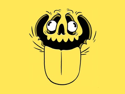 Wacky Distorted Face. inktober face mouth eyes tongue wierd pumpkin skull hipster retro cartoon cute character design blake stevenson jetpacks and rollerskates illustration