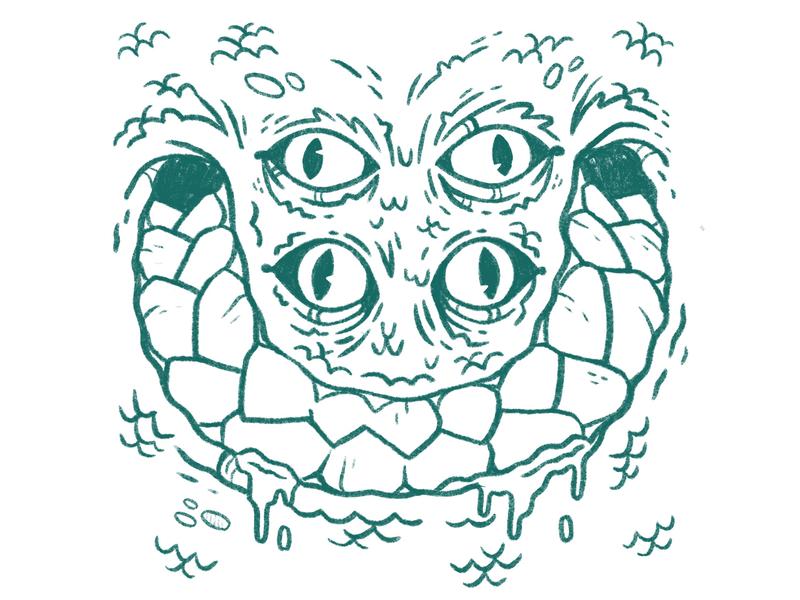 Four Eyed Lizard Face (WIP) inktober process wip drool drips smile horror creepy scales mouth teeth lizard eyes snake 80s retro character design blake stevenson illustration jetpacks and rollerskates
