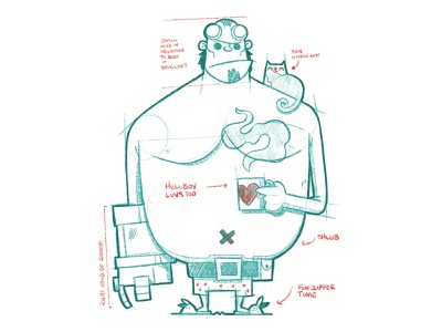 Hellboy Sketch and Notes wip sketch video game video game art character simple adorable heart coffee cute cat comic art hellboy cartoon character design blake stevenson jetpacks and rollerskates illustration