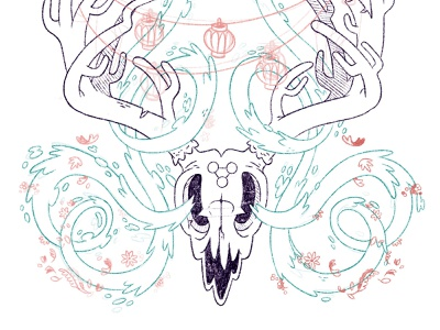 Surreal Deer Skull Magic antlers eerie creepy fantasy surreal lantern flowers occult magic skull hipster retro character design blake stevenson jetpacks and rollerskates illustration