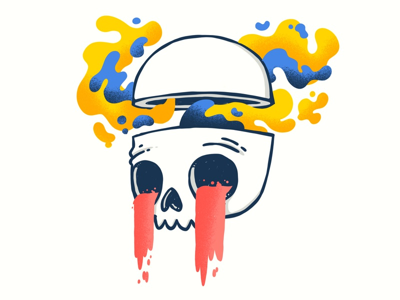 Mind Blown, Drippy Skull psychedelic 90s surreal gloop smoke slime cry head drip 80s skull hipster retro cute character design blake stevenson jetpacks and rollerskates illustration