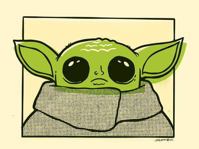 Baby Yoda? Green Bean? The Kid? disney the force baby yoda alien troll green star wars yoda 80s hipster cartoon retro cute character design blake stevenson jetpacks and rollerskates illustration
