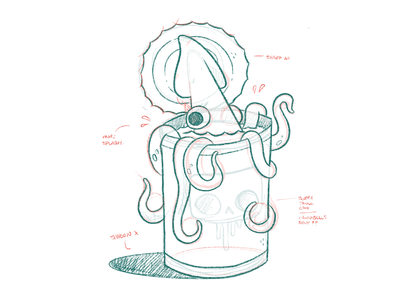 Squid in a Can tentacle eyes octopus wierd squid can hipster cartoon retro cute character design blake stevenson jetpacks and rollerskates illustration