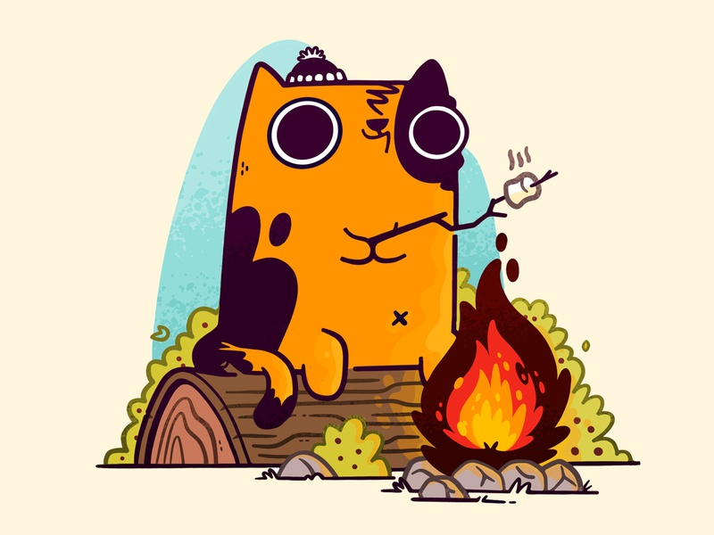 Camp Fire Cat adorable rock bush catalog wood mashmallow toque camping fire cat hipster cartoon retro cute character design blake stevenson jetpacks and rollerskates illustration