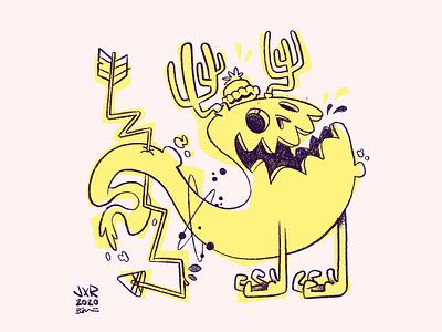 Loose Creature ghost arrow toque antler 80s jetpacksandrollerskates hipster cartoon retro cute character design blake stevenson jetpacks and rollerskates illustration