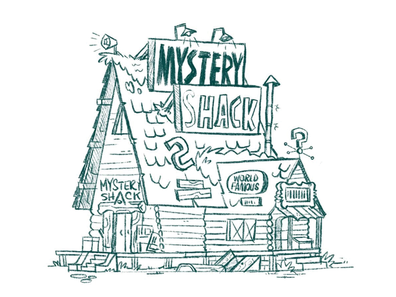 Mystery Shack from Gravity Falls Sketch forest log house wip sketch disney gravity falls building cabin cartoon retro character design blake stevenson jetpacks and rollerskates illustration