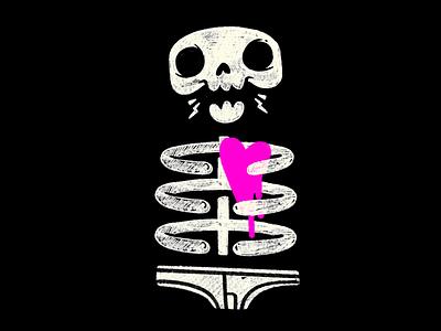 Skeleton Underwear Love wip sketch underground undead jaw ribs heart underwear 80s skull hipster cartoon retro cute character design blake stevenson jetpacks and rollerskates illustration