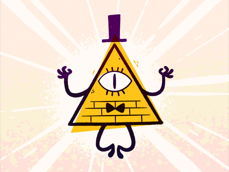 Gravity Falls - Bill Cypher offset cyclops one eye top hat triangle pyramid occult disney gravity falls jetpacksandrollerskates hipster cartoon retro cute character design blake stevenson jetpacks and rollerskates illustration