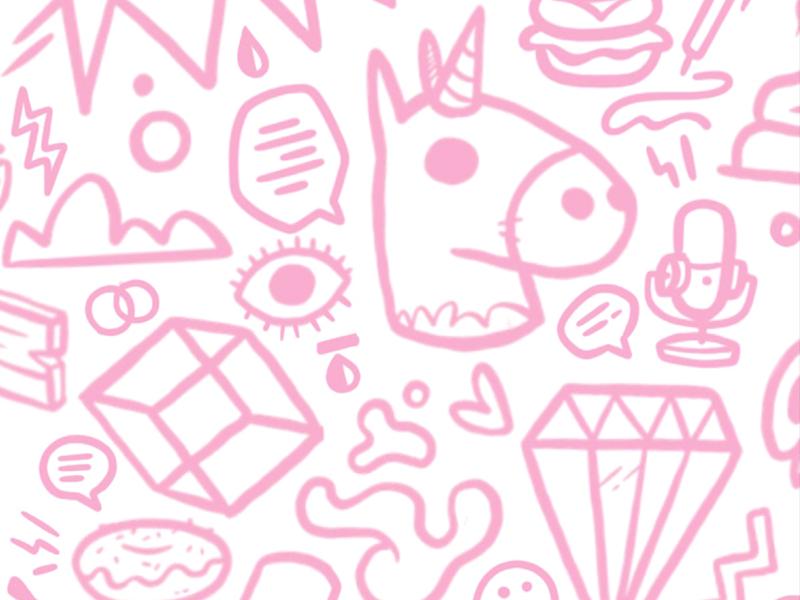 Random Pattern WIP silly microphone donut eye diamond pattern unicorn skull jetpacksandrollerskates hipster cartoon retro cute character design blake stevenson jetpacks and rollerskates illustration