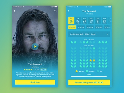 Movie ticket booking UI flat design clean interaction movie ticket booking app ux ui