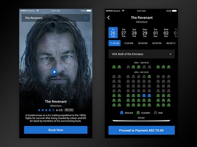 Movie ticket booking UI blue black ux ui booking movie ticket interaction flat design clean app