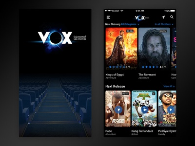 Movie ticket booking UI ux ui ticket movie interaction flat design clean booking blue black app