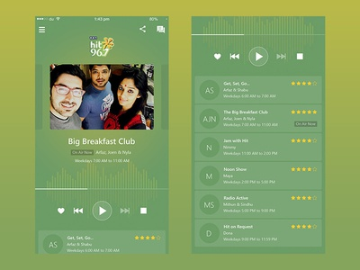 Concept Redesign of Hit96.7FM dubai radio app ios redesign