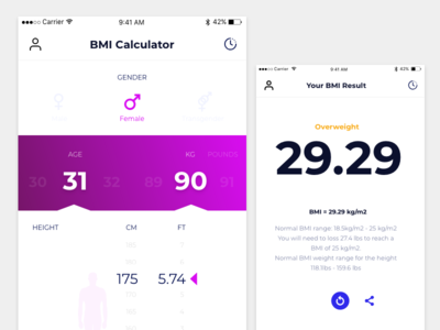 BMI Calculator ux ui simple gender weight height health fitness calculator bmi age