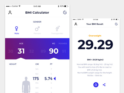 BMI Calculator age bmi calculator fitness health height weight gender simple ui ux