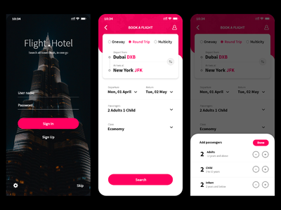Flight Booking App Concept UI illustration flat booking creative interaction design concept redesign ios clean app ux ui