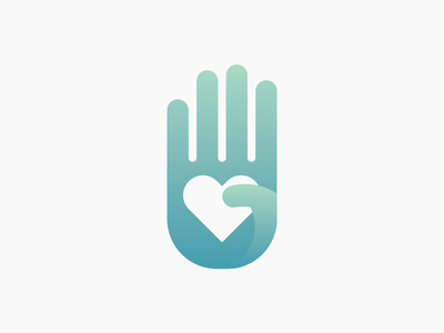 Tissue Center Logo tissue donor donation hand heart love logo gradient fingers palm care