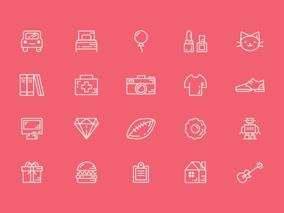 Category Icon Set playoff procrastinate creative market icon set robot cat camera lines product icon category xprocrastinationcontest