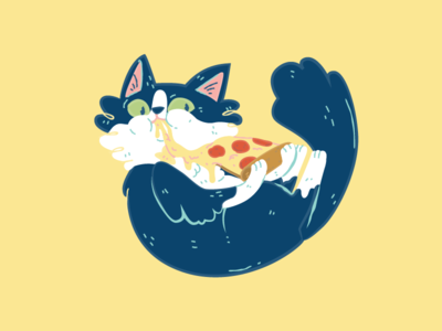 Pizza Cat carbs bread pepperoni cheese illustration drip food kitten kitty cat pizza