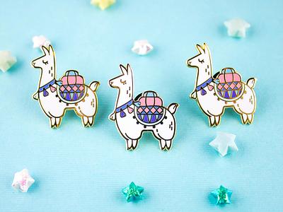 Alpaca Adventures Enamel Pin cute pastel flair pin enamel pack sherpa llama alpaca