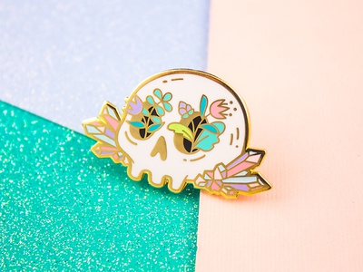 Crystal Skull halloween plants pink gold enamel pin pin gem prism flowers floral crystal skull