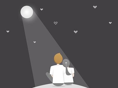 Super Moon Illustration love couple stars sky night supermoon art illustration