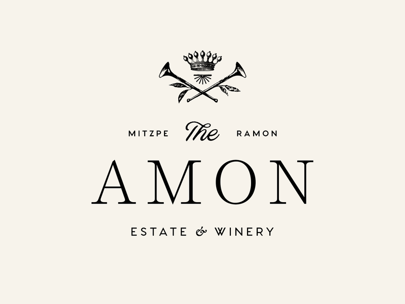 The Amon vintage logo crest estate winery icon brand type mark logo