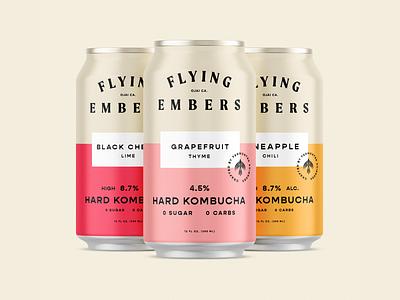 Flying Embers Hard Kombucha can design alchohol kombucha can packaging branding icon brand type mark logo