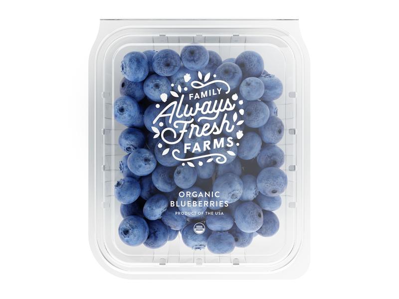 Always Fresh berry farm food packaging branding icon brand mark type logo