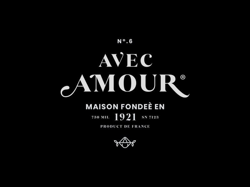 Avec Amour alcohol packaging food identity branding icon brand type mark logo