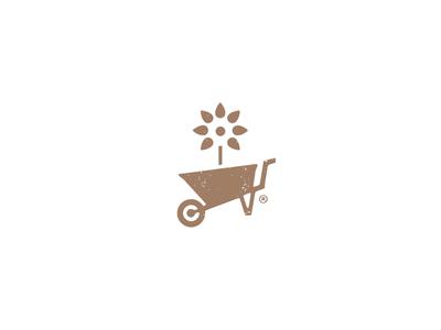Gardening Mark gardening garden green nature wheelbarrow flower logo mark