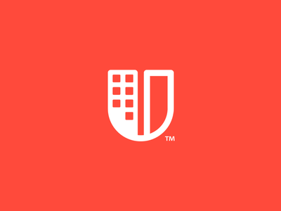 U Building  identity icon brand tower city building logo