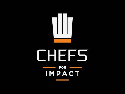 Chefs for Impact chef cook food fork baker hat logo type stack charity hand