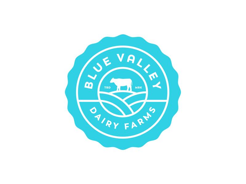 Blue Valley Dairy Farms mark logo valley blue cow farms milk. farm dairy