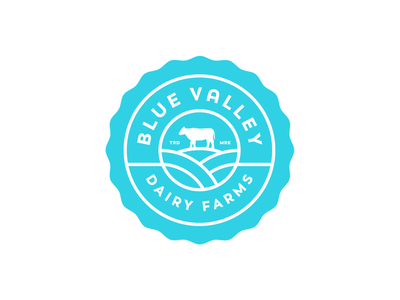 Blue Valley Dairy Farms mark logo valley blue cow farms milk. farm dairy