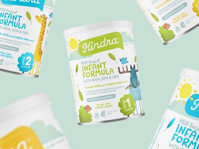 Kindra animals type infant formula baby logo packaging