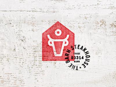 Barn Steakhouse stamp type cow meat steak house barn logo