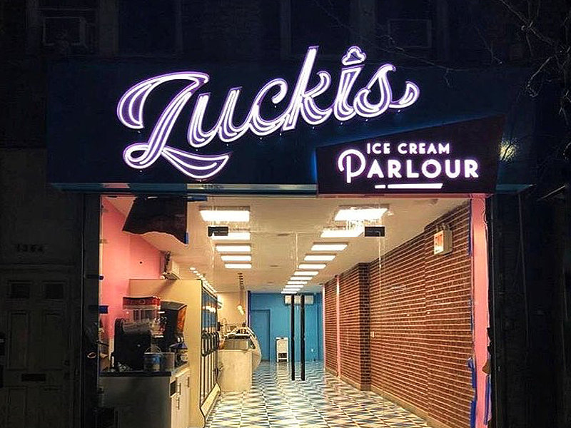 Zuckis Sign ice cream lettering type signage sign