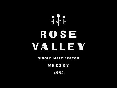 Rose Valley label brand scotch bottle label bottle cap whiskey whisky logotype type logo