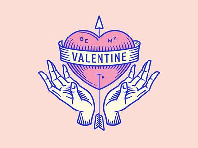Be my Valentine design vector illustration logo thicklines pink linocut lineart tattoo banner arrow handset hearts hands valentine heart love