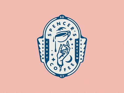 Spencer's Coffee Seal hand americano latte cafe caffeine coffee cup thick lines line art seal badge design badge coffee