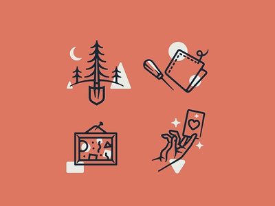 Icons for National iconography trees lineart thick lines linework logos icons