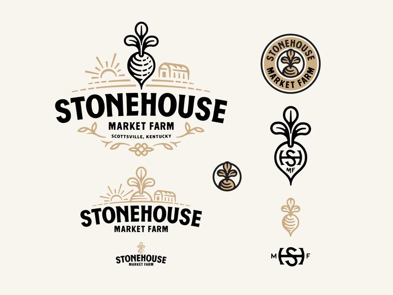 Stonehouse Market Farm Logo hand type logos brand linocut line art type typography logo suite branding logo responsive logo