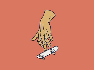 Tiny Ollie simple hand vector line art logo design skateboarding skate skateboard