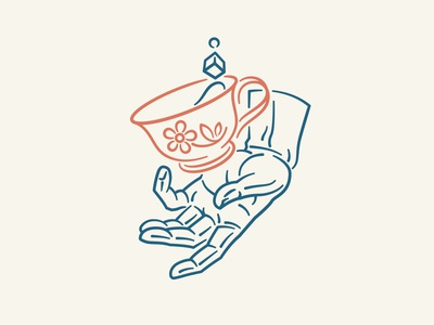 Tea Time branding vector logo design illustration line art tea cup tea