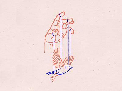 Helping you fly texture pink branding vector illustration hand design logo line art puppeteer puppet marionette birds bird fly