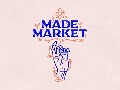 Made Market Summer Illustration ornate leaf vine hands flowers floral pink creative handmade maker typography branding vector illustration hand design logo line art