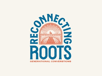 Reconnecting Roots Comp texture vintage font vintage badges vintage badge vintage logo bridge roots logodesign logotype logolounge drawing lineart linework scratchboard scratch linocut lettering handlettering logos logo